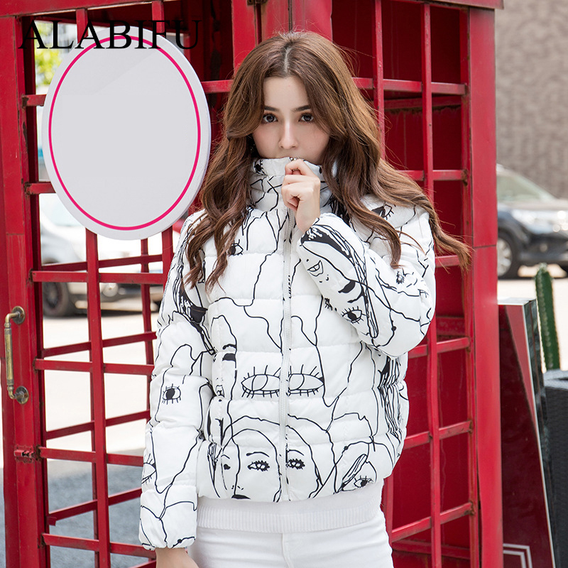 Autumn Winter Women   Parka   2018 Casual Print Floral Thick Warm Jacket Coat Short Cotton   Parka   Outwear casaco feminino ukraine