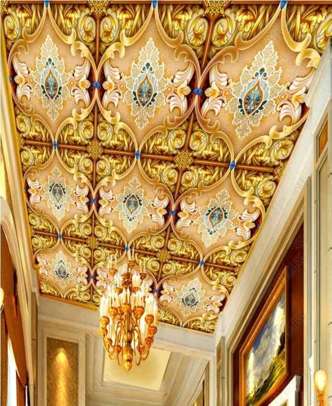 Style européen 3d plafond mural papier peint de luxe or motif 3d stéréoscopique papier peint plafond moderne papier peint
