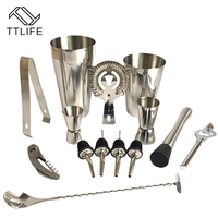TTLIFE Premium Shaker Barware Set 13 Pieces Bartender Kit Includes shaker rack spoon pourer straw and ice tong Cocktail Shaker