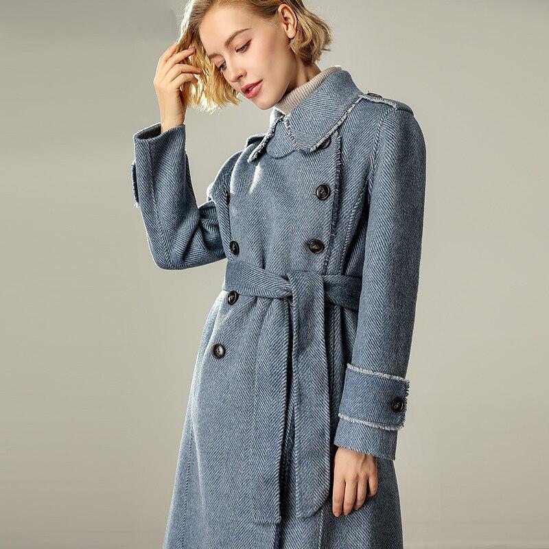 Manteau blue Avec Ceinture Vêtements Classique Bonne Automne Beige Femmes 80920a De Femme Qualité Npi Laine Fourrure Hiver coffee Réel Design Élégant jVUpqSGLzM