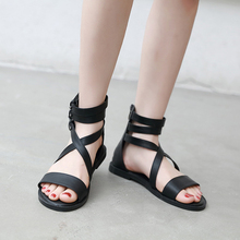 2019 New Gladiator Women Sandals Rome Sandals Flat Sandals Apricot/Black Summer Female Shoes Casual Lady Shoes Woman Footwear