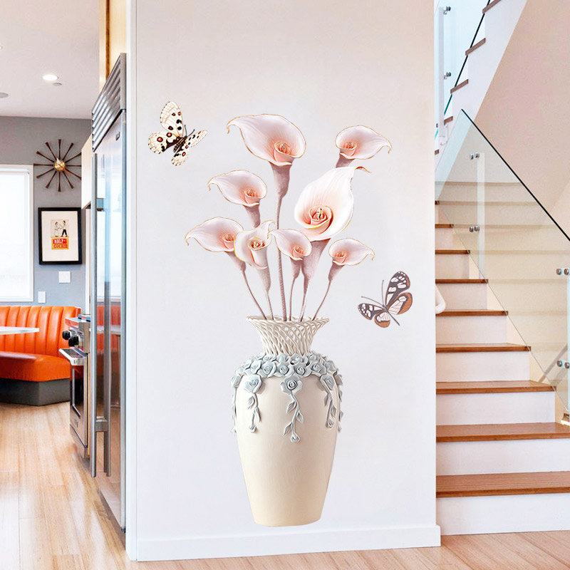 70*110cm Creative Exquisite Vase 3D Wallpaer Home Decor Vinyl Wall Sticker DIY Flower Living Room Bathroom Decoration Poster 178