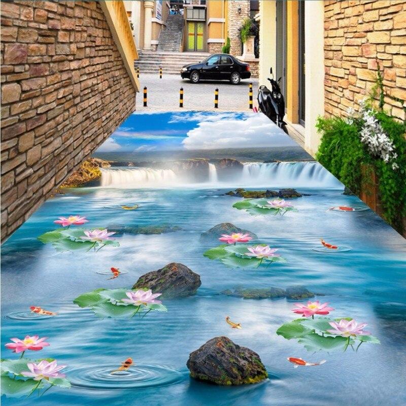Free Shipping Blue sky waterfall lotus carp floor paste bathroom kitchen walkway self-adhesive floor wallpaper mural blue sky чаша северный олень