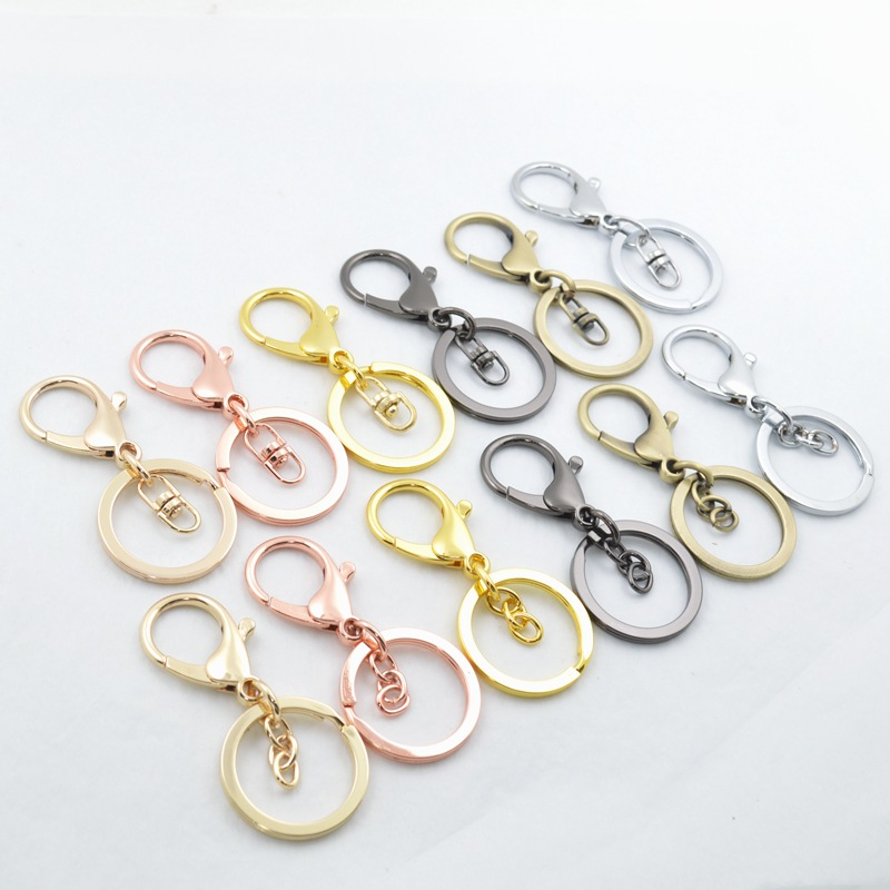 High Quality Gold Silver Key Chains Ring Jewelry Making DIY Accessories Parts Bag Charms Car Keyring Keychain Trinket Wholesale