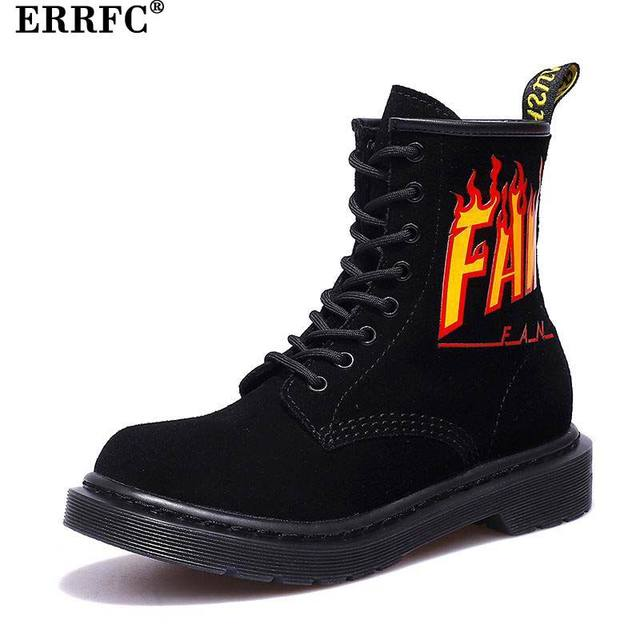 67e4d618eeb ERRFC New Arrival Womens Purple Work Boots Fire Pattern Ladies Black Ankle  Boots For Girls Suede