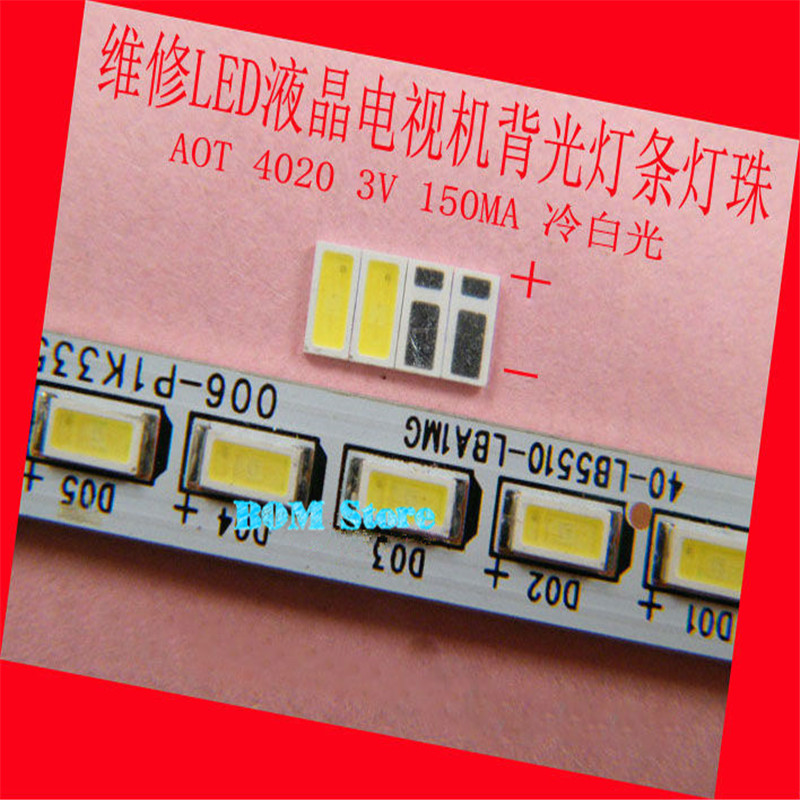 200pcs AOT <font><b>LED</b></font> Backlight 0.5W 3V <font><b>4020</b></font> 48LM Cool white LCD Backlight for TV TV Application 4020C-W3C4 free shipping