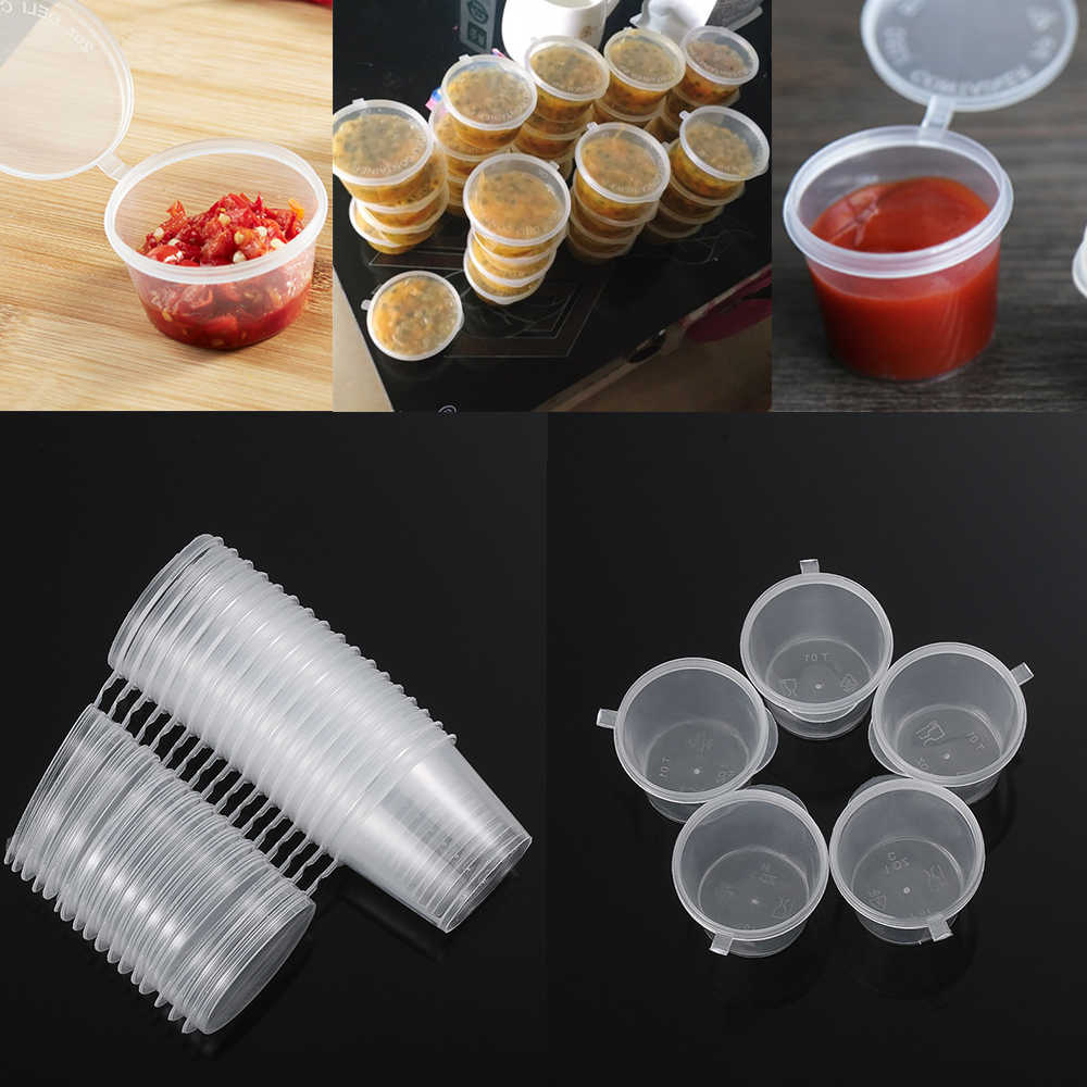 25Pcs Disposable Sauce Cup Pigment Paint Box Food Containers Hinged Lids