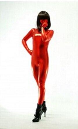 (S004) Red Shiny Metallic Tights Unisex original Fetish Zentai Suits