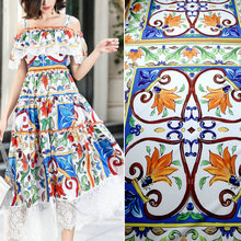 145cm printed fashion fabric smooth childrens clothing dress scarf Italian brand polyester cloth