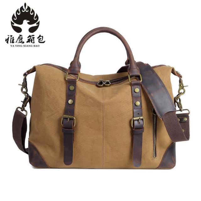 Canvas Leather Crossbody Bag Men Military Army Vintage Messenger Bags Large  Shoulder Bag Travel Bags 094864418788