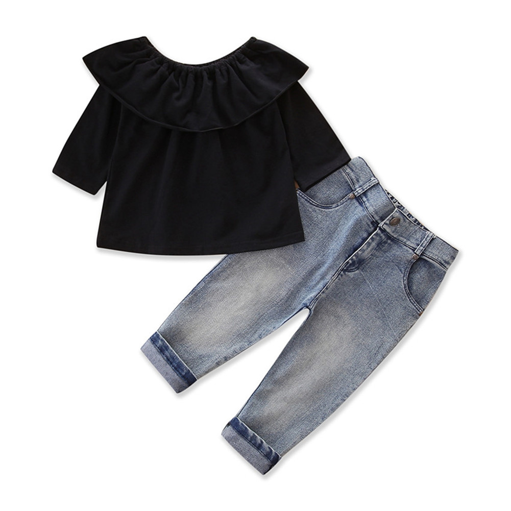 US Fashion Kids Baby Girls Tops Jeans Pants Clothes 2pcs Outfits Set 1-7Y New