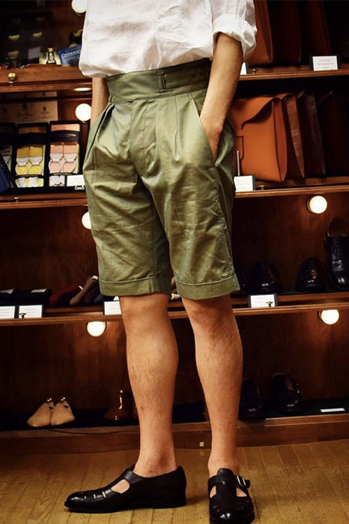 Classic British Army Gurkha Shorts Vintage Men's Chino Military Short Pants Summer pleated loose casual pants male army pants