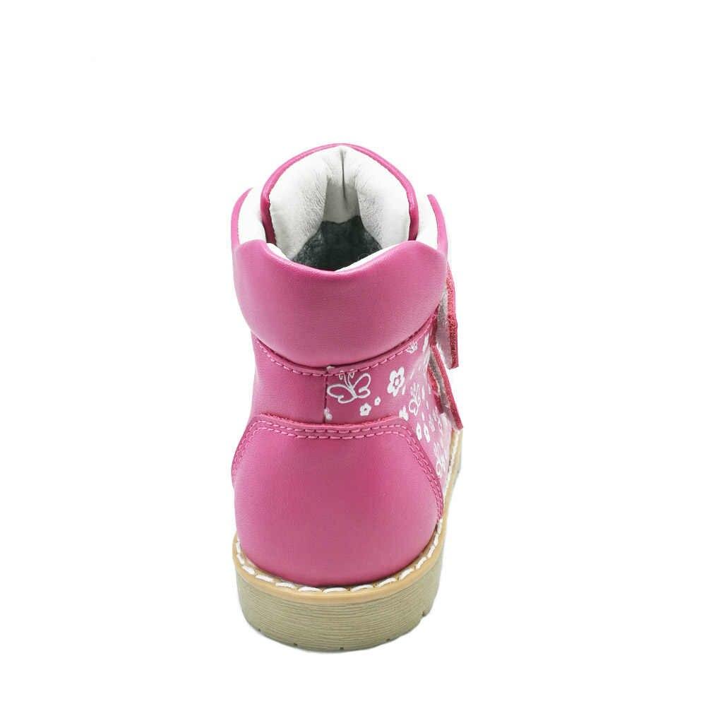 Moda çocuk ortopedik rahat ayakkabılar çocuklar kelebek baskı deri bahar sonbahar kış ayakkabı kızlar yürümeye başlayan spor ayakkabılar