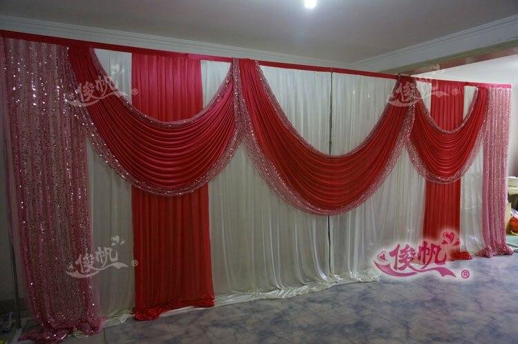 Ледяной шелк белый свадебный фон с фиолетовые пайетки Swag пользовательский цвет роскошный свадебный фон для свадебной вечеринки декор - Цвет: Красный