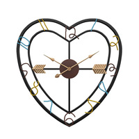 1pcs Modern Minimalist Creative Living Room Love Heart Design Wall Clock Iron Art Silent Wall Decorative Clocks for Home Decor