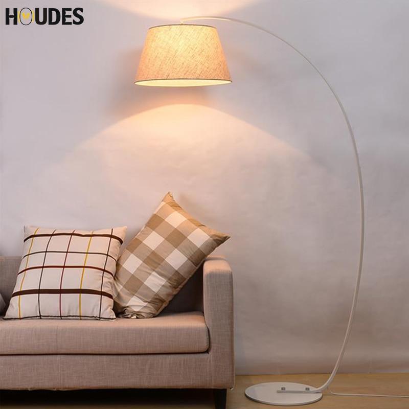 Design de mode Moderne Lampadaire En Tissu Pour Salon Chambre Chevet De Pêche Lambader Noir Blanc led étage permanent lampe E27