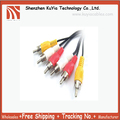 Free Shipping+New 3 RCA MALE TO 3 RCA MALE AV TV AUDIO VISUAL CABLE (red,white ,yellow) 1.45m approx.