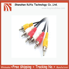 KUYiA Free Shipping+New 3 RCA MALE TO 3 RCA MALE AV TV AUDIO VISUAL CABLE (red,white ,yellow) 1.45m approx.