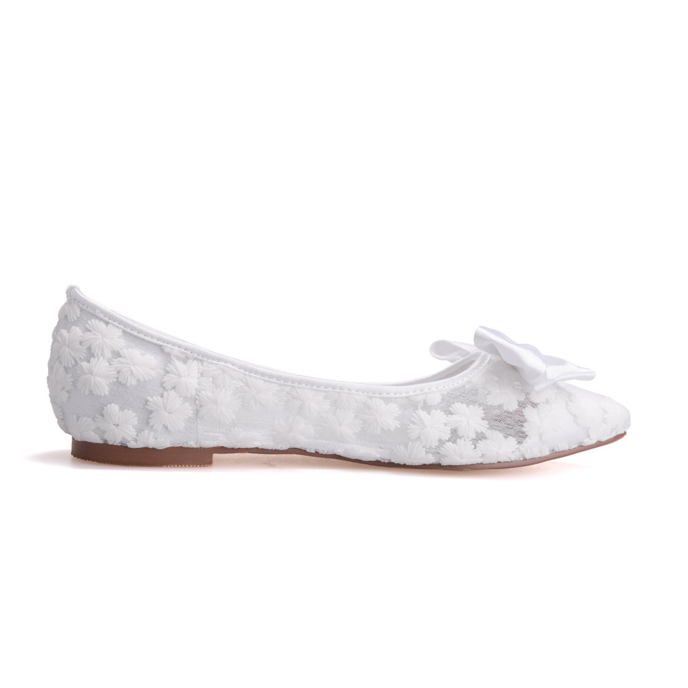 2be5901b14b9 Creativesugar pointed toe perspective see through lace ballet flats ribbon  bow pink black white ivory pink royal blue lady shoes-in Women s Flats from  Shoes ...