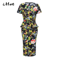 IHOT Summer Women Elegant Dress Short Sleeve Peplum Ruffle Floral Print Multicolor Bodycon Party Ladies Dresses