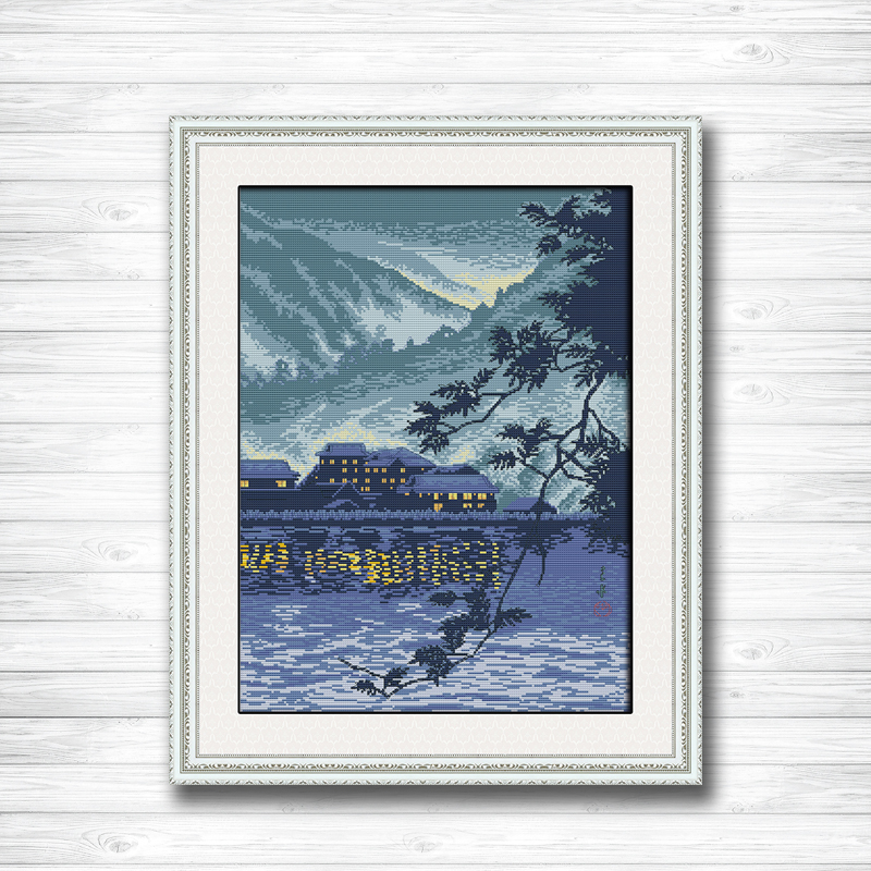 household by the river celadon diy painting 14CT 11CT counted cross stitch Needlework Set Embroidery kits chinese cross stitch