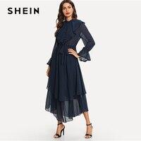 SHEIN Ruffle Detail Crochet Trim Flowy Dress Navy Stand Collar Tiered Layer Belted Dresses Women Autumn