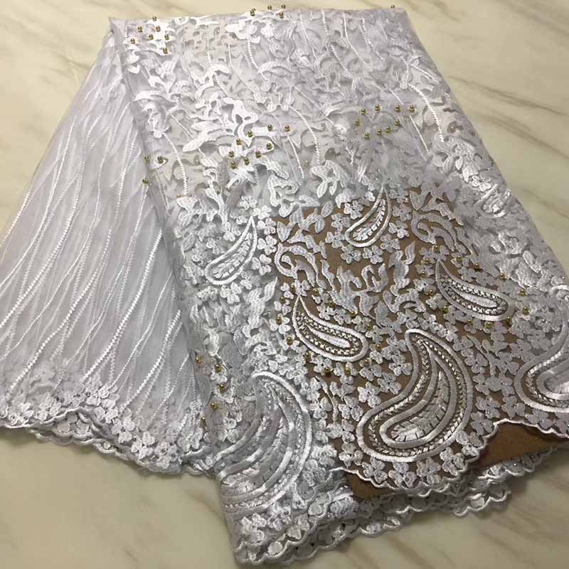 White Color African Lace Fabric 2018 High Quality Lace Cheap French Tulle Lace Fabrics With Beads