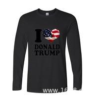 2017 Vente Chaude Drôle J'aime Donald Trump USA Drapeau Américain drôle Long T-shirts À Manches Longues T Shirt