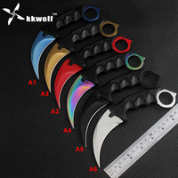 KKWOLF CS GO Hunting Fixed Knife Karambit Colourful Color Counter Strike Tactical Survival Fighting Claw Knife