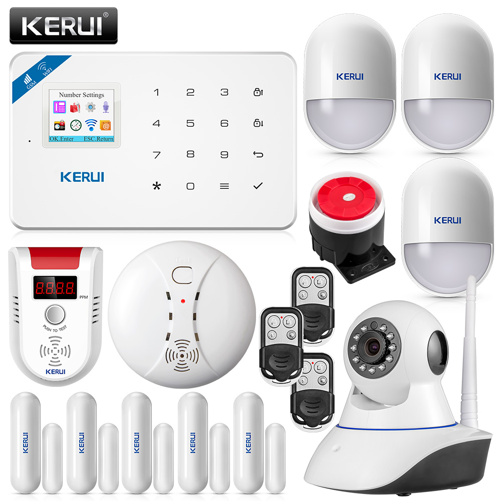 original KERUI W18 Wifi GSM Burglar Alarm System IOS/Android APP Control LCD GSM SMS Gas Detector Sensor Alarm+ Ip Camera android ios app remote control wifi wireless wired lcd keypad smart gsm alarm system