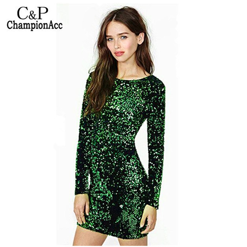 Buy Cheap FANALA Sequined Dress Women Party Sexy Dress Stretch Bodycon Spring Autumn O-Neck Long Sleeve Backless Mini Dress Green Vestido