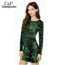 FANALA Sequined Dress Women Party Sexy Dress Stretch Bodycon Spring Autumn O-Neck Long Sleeve Backless Mini Dress Green Vestido