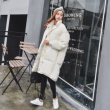 2016 winter korean loose cotton padded jacket women casual long sleeve medium long soild thcik warm coat mujer parkas casacos