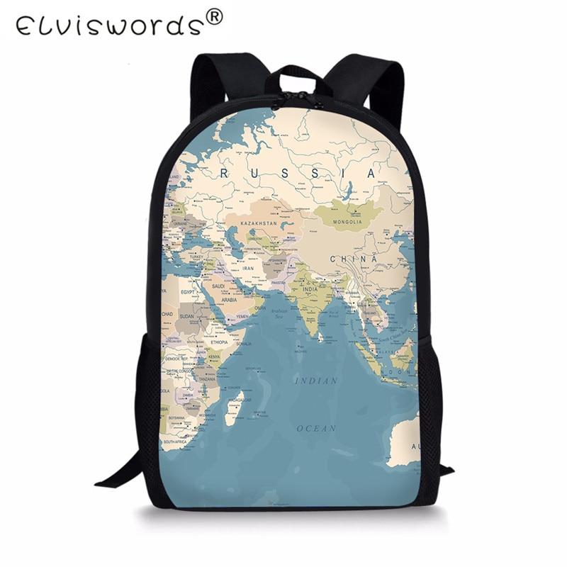 ELVISWORDS учащегося начальной школы, школьные сумки карта печать детей и подростков школьный детская книга мешок Для женщин Путешествия Повсед... ...
