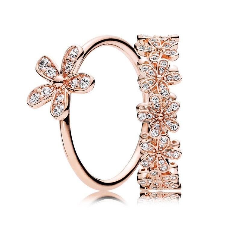 100% 925 Sterling Silber Rose Dazzling Daisy Ring Stapel Für Frauen Geburtstag Party Geschenk Hochzeit Ring Feine Europa Schmuck Original Durch Wissenschaftlichen Prozess