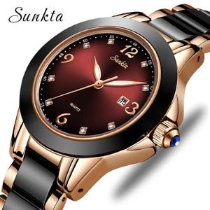 Image 1 - SUNKTA Montre de luxe pour femmes, Bracelet de luxe, en céramique et alliage, analogique, tendance, 2019