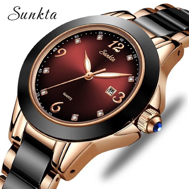 SUNKTA Montre de luxe pour femmes, Bracelet de luxe, en céramique et alliage, analogique, tendance, 2019