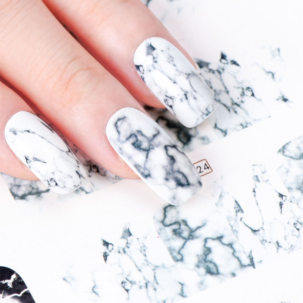 1PCS White Black Gradient Marble Nail Art Sticker Water Transfer Decal Watermark Slider Manicure Full Wrap Tool Decor JIBN624 primus micronlantern steel mesh 221383