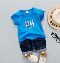 2019 Summer Children outfits Korean Short Sleeved Infant Clothing Baby Set Toddler Kids Jeans Shorts+T-shirt 2Pcs Set SY-F182224