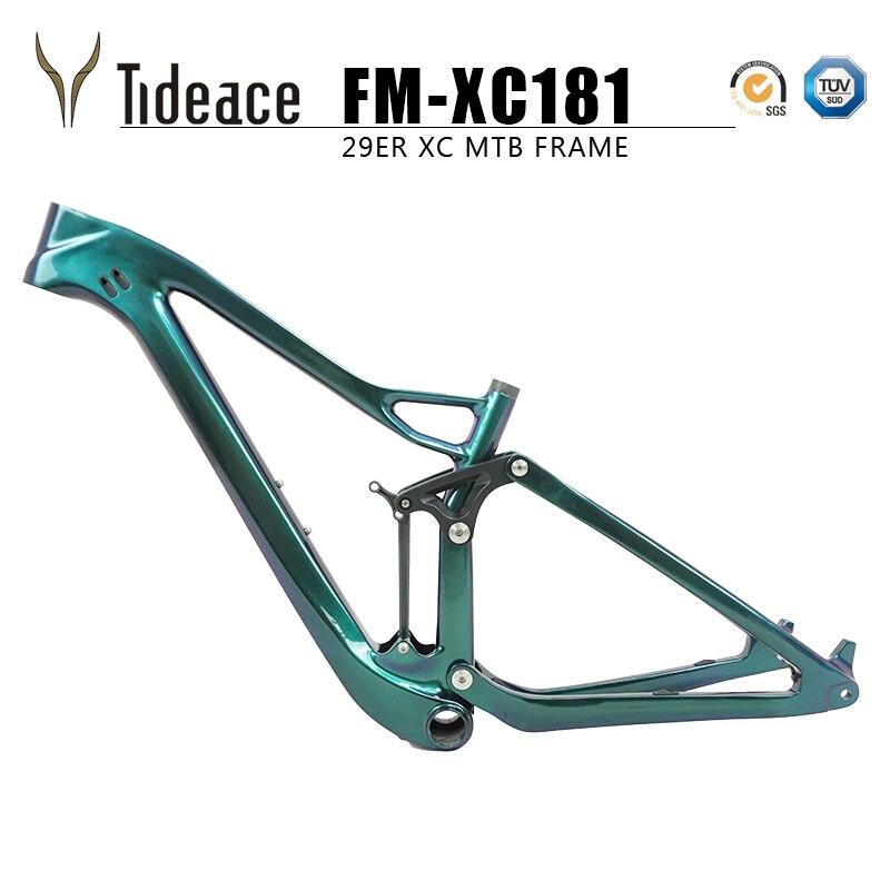 Tideace Twinloc Shock Full Suspension Mountain Bike Frame 29er 142mm Mtb Carbon Frame 29er/27.5er Boost Suspension Frame 148mm