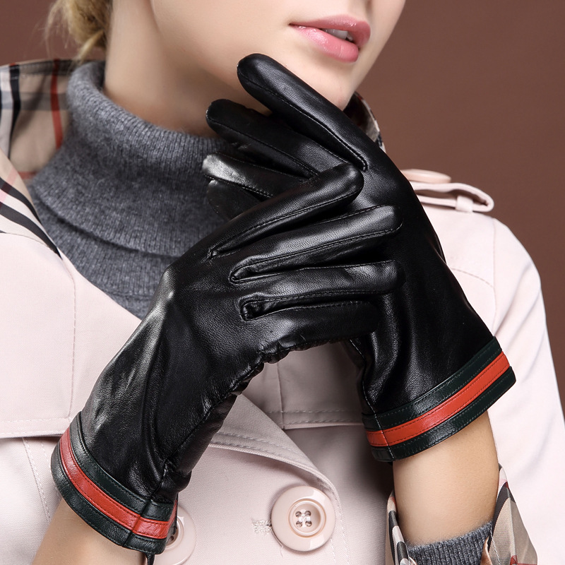Autumn And Winter Warm Ladies Leather Gloves Fashion Thin Section Touch Screen Goat Leather Hand Driving Gloves GR-86051-5