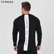 Mens long sleeved t shirt cotton Slim fit gyms Fitness Bodybuilding workout Crossfit clothing male Casual fashion YEMEKE T-shirt