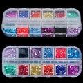 New Mix 12 Color de 2mm Círculo Bolas Nail Art Gel ULTRAVIOLETA de Acrílico Consejos Rhinestones de Los Brillos Gems Decoración con Duro caso