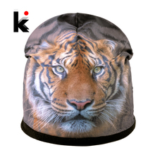все цены на Winter Hats For Men Fashion 3D Print Tiger Hip Hop Bonnet Caps Women Warm Thick Skullies Beanies Unisex Gorros Mujer Invierno онлайн