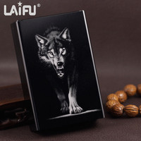 Personalized Untra Thin Automatic Cigarette Case King Wolf Black Laifu Brand Male Metal E Cigarettes Boxes