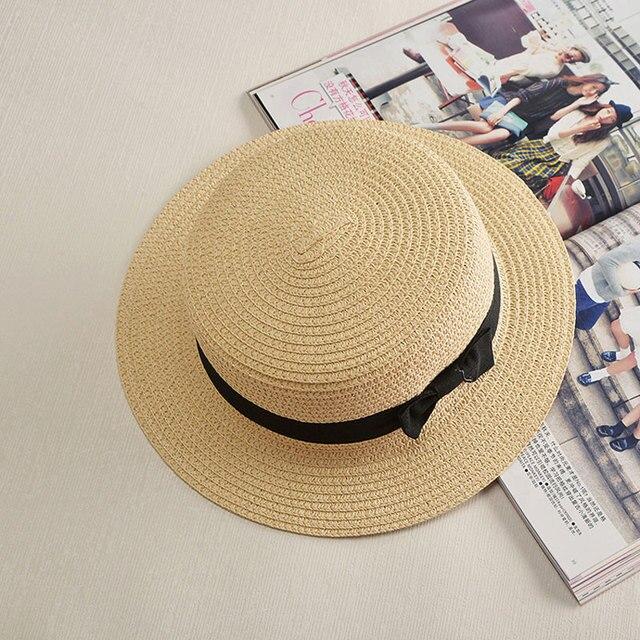Летняя Мода, стиль небольшой соломенной шляпе для женщин Милые женщин путешествия соломенная шляпа вс шляпы С Плоским Верхом Соломенная 2016 Бесплатно поставка