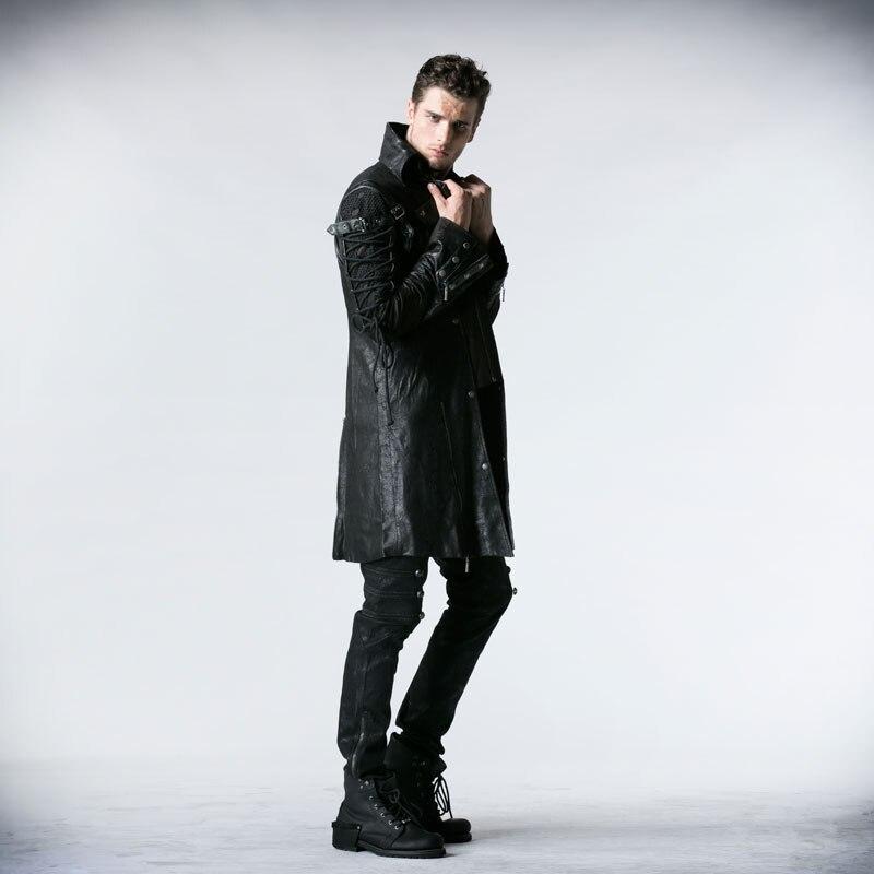 Gothic Retro Style Faux usnjeni dolgi plašči za moške Steampunk - Moška oblačila - Fotografija 3
