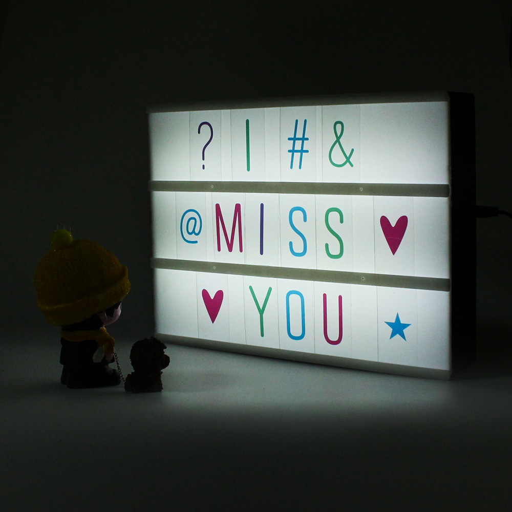 led cinema lightbox a4 3 linesa5 2 lines with 85 colorful letters battery or