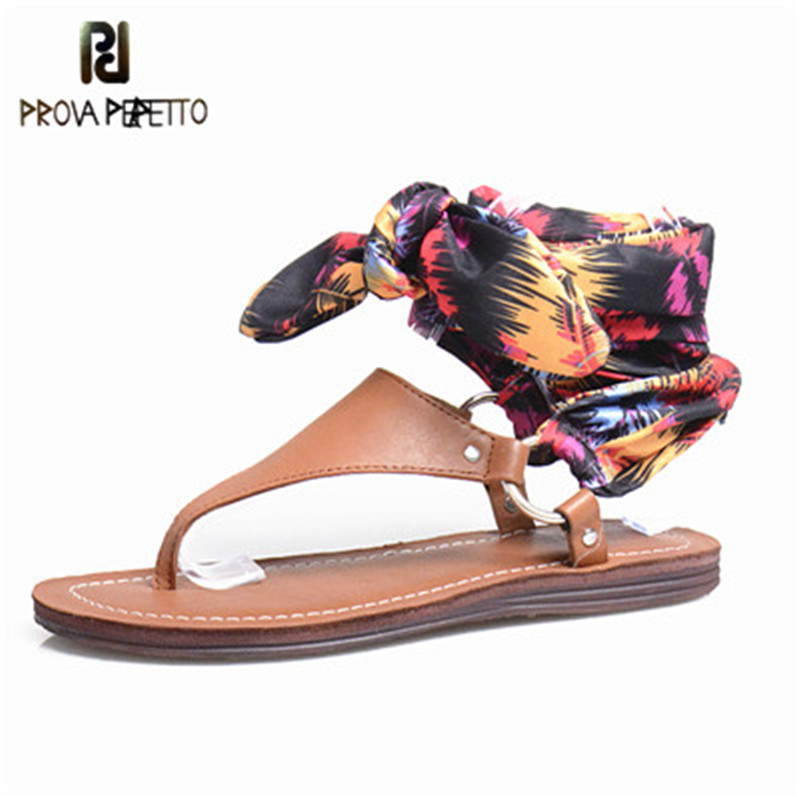 Prova Perfetto Silk Ribbon Lace-up Shoe Bohemian Women Sandal Real Leather Flip Flop Sandals Woman Flat Casual Rome Beach Shoe цены