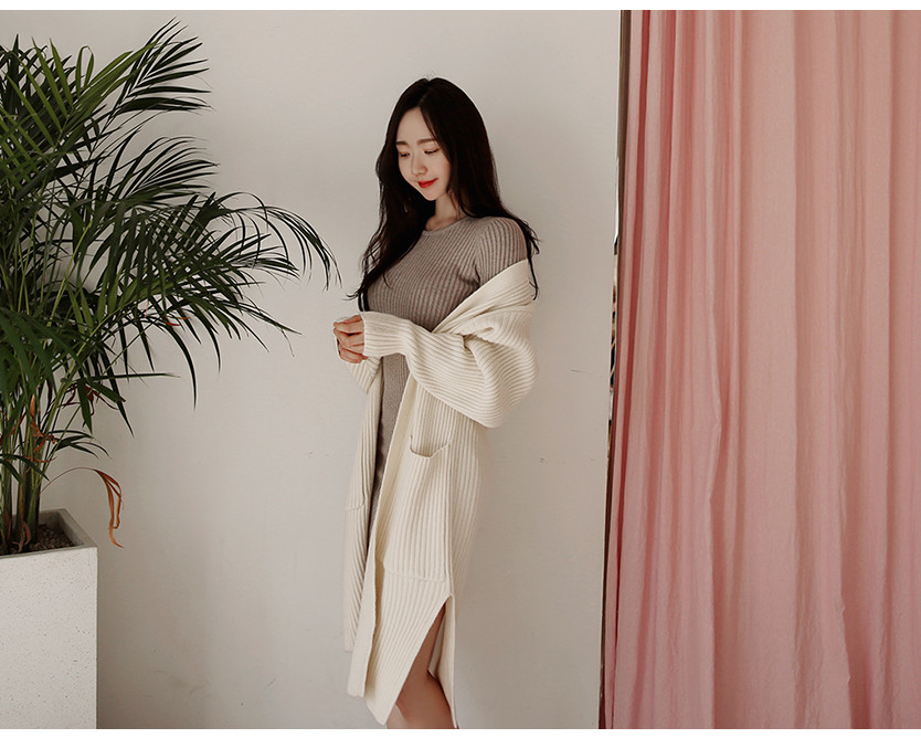 HTB1pc0Vbe6sK1RjSsrbq6xbDXXaE - skinny  solid Elegant Autumn Dress Girls Boho Female Vintage Dress knitting Women LongSleeve Women Dresses knitted Robe Vestido